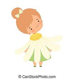 身に着けていること, かわいい, わずかしか, 花, カモミール, カーニバル, イラスト, 衣装, ベクトル, かわいい少女, 子供, 愛らしい, 衣服