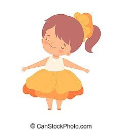身に着けていること, かわいい, わずかしか, 花, カーニバル, イラスト, 衣装, ベクトル, かなり, オレンジ, 女の子, 子供, 愛らしい, 衣服