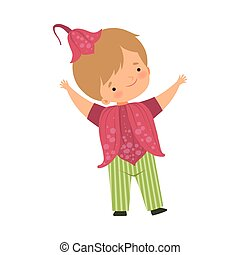 身に着けていること, かわいい, わずかしか, 花, カーニバル, 男の子, イラスト, 暗いピンク, ベクトル, 衣装, 帽子, 子供, 愛らしい, 衣服