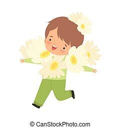 身に着けていること, かわいい, わずかしか, 花, カーニバル, 男の子, イラスト, 衣装, ベクトル, 白, 子供, 愛らしい, 幸せ, 衣服