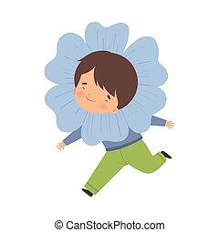 身に着けていること, かわいい, わずかしか, 花, カーニバル, 男の子, 淡いブルー, イラスト, 衣装, ベクトル, 子供, 愛らしい, 衣服