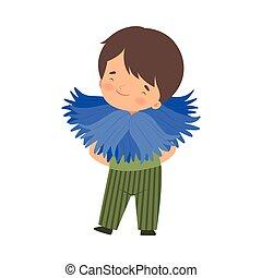 身に着けていること, かわいい, わずかしか, 花, カーニバル, cornflower, 男の子, イラスト, 衣装, ベクトル, 子供, 愛らしい, 衣服
