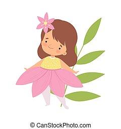 身に着けていること, かわいい, わずかしか, 花, ピンク, カーニバル, イラスト, 衣装, ベクトル, 女の子, 子供, 愛らしい, 衣服
