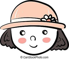 身に着けていること, かわいい, ベクトル, 色, イラスト, ピンク, 顔つき, 女の子, 帽子, ∥あるいは∥