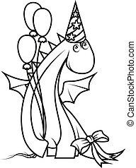 身に着けていること, かわいい, 着色, 帽子, ドラゴン, 保有物, パーティー, book:, 風船, 漫画