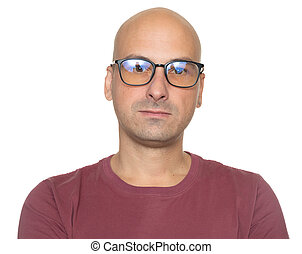 身に着けていること, はげ, 隔離された, glasses., 肖像画, 人