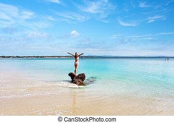 身に着けていること, よい, のどかな, 水着, 女, 白, 感じ, 浜