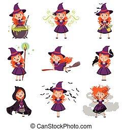 身に着けていること, わずかしか, セット, 紫色の服, 魔女, 女の子, 帽子