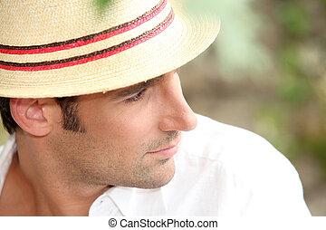 身に着けていること, わら帽子, 人