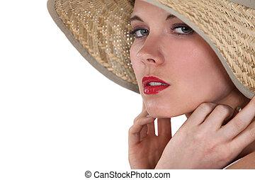身に着けていること, わら, 女, 帽子
