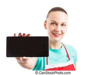 身に着けていること, エプロン, 女, 携帯電話, 提示, ∥あるいは∥, smartphone, 空白 スクリーン, 赤