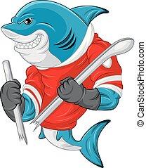 身に着けていること, サメ, 切口, 間, ホッケー, 保有物, マスコット, あった, 漫画, ジャージー, スティック