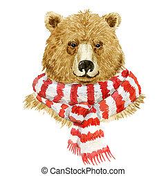 身に着けていること, スカーフ, 熊, ブラウン