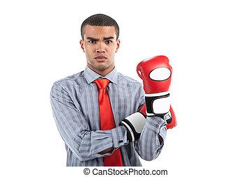 身に着けていること, ビジネス, 上に, ボクシング, 手, バックグラウンド。, 手袋, アフリカ, ビジネスマン, 白, 印, 提示, 人