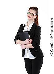 身に着けていること, ビジネス, 黒, 肖像画, フォルダー, 半分長さ, 女性