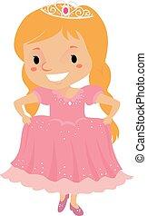 身に着けていること, ピンク, 女の子, 服, 王女