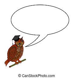 身に着けていること, フクロウ, 帽子, 卒業, スピーチ泡