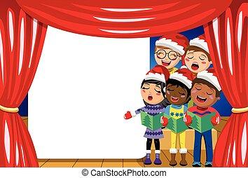 身に着けていること, プレーしなさい, 子供, コピースペース, 帽子, multicultural, クリスマス, nativity, キャロル, 歌うこと, クリスマス, ステージ