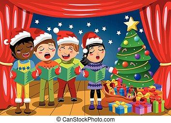 身に着けていること, プレーしなさい, 子供, 帽子, multicultural, クリスマス, nativity, キャロル, 歌うこと, クリスマス, ステージ