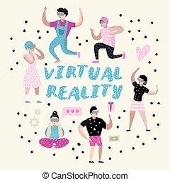 身に着けていること, 事実上, 女の子, glasses., 現実, 男の子, vr, ベクトル, headset., イラスト, 特徴, ビデオ, games., 遊び, 漫画