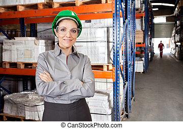 身に着けていること, 保護である, スーパーバイザー, メガネ, 女性, 倉庫