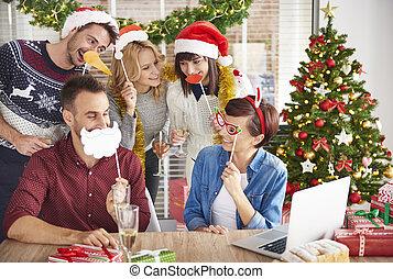 身に着けていること, 労働者, グループ, 付属品, クリスマス
