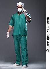 身に着けていること, 医者, マスク, 中間の 大人, マレ, コーカサス人