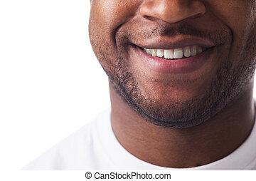 身に着けていること, 半分表面, 微笑。, tシャツ, sincerely, 人, ハンサム, 白, 人