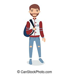 身に着けていること, 地位, あごひげを生やしている, バックパック, 特徴, 若い, イラスト, ジャケット, ベクトル, 野球, 漫画, 人