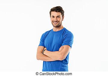 身に着けていること, 地位, フィットしなさい, 若い, スポーツマン, tシャツ, 魅力的
