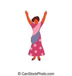 身に着けていること, 地位, 上げられた, 女, indian, 彼女, saree, イラスト, 伝統的である, ...