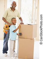 身に着けていること, 地位, 道具, 父, 箱, 息子, s, 新しい 家, ベルト