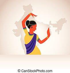 身に着けていること, 地図, ダンス, インド, dance., 伝統的である, indian, 背景, 女の子, 衣類