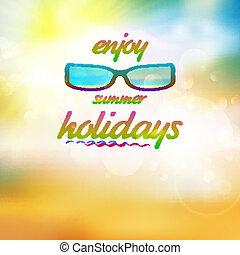 身に着けていること, 夏, sunglasses., 空, 太陽