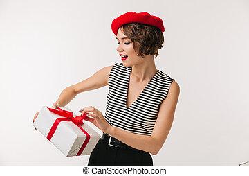 身に着けていること, 女, ベレー帽, かなり, 肖像画, 赤