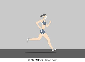 身に着けていること, 女, マスク, 若い, exercising., 間, 汚染