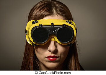 身に着けていること, 女, 保護である, メガネ