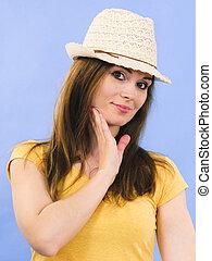 身に着けていること, 女, 太陽, 若い 大人, 帽子