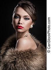 身に着けていること, 女, 毛皮, 魅力的, retro., 美しい