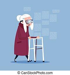 身に着けていること, 女, 現代, 事実上, 祖母, 長さ, フルである, シニア, ガラス, 3d