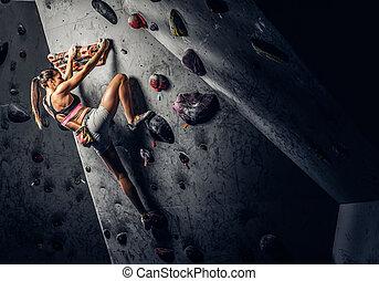身に着けていること, 女, 練習する, ロッククライミング, 若い, 壁, 屋内, スポーツウェア