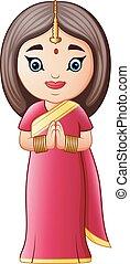 身に着けていること, 女, 衣装, 伝統的である, indian, 漫画