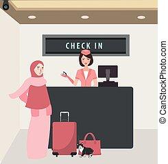 身に着けていること, 女, 飛行, 持って来なさい, 旅行, 手荷物, 航空会社, 机, 前部, 女の子, ベール, ...