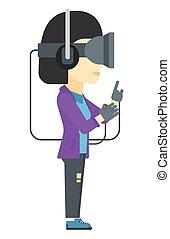 身に着けていること, 女, headset., バーチャルリアリティ