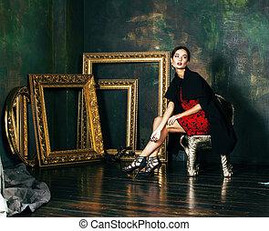 身に着けていること, 実質, 女, ライフスタイル, 豊富, 美しさ, 人々, 衣服, フレーム, 概念, ブルネット,...