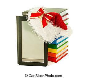 身に着けていること, 帽子, サンタ, 本, 本, 読者, 電子, 山