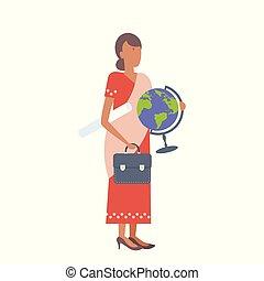 身に着けていること, 平ら, 学校, 女, クリップボード, フルである, 労働者, 地球, 特徴, 隔離された, ...