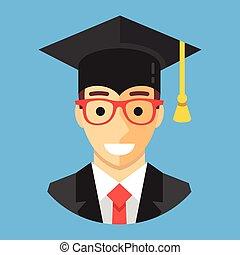 身に着けていること, 平ら, 広場, mortarboard., 現代, 卒業, 卒業生, 学者, cap., ベクトル, デザイン, イラスト, 学生, 幸せに微笑する, concepts., 人