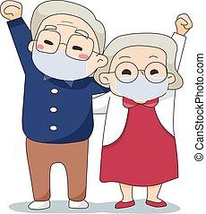 身に着けていること, 幸せ, アジア人, 行きなさい, 恋人, 古い, から, マスク