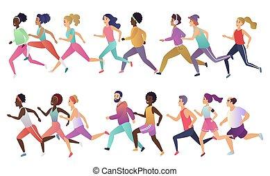 身に着けていること, 強い, グループ, illustration., フィットしなさい, multiethnic, 健康, 男性, 隔離された, clothes., 若い, 動くこと, ベクトル, ライフスタイル, 流行, 活動的, 女性, 微笑, スポーツ, 昇進, 幸せ